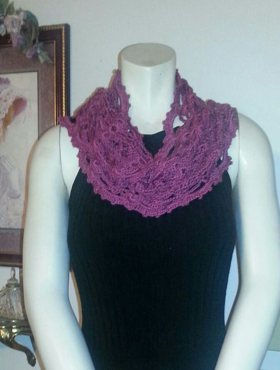 Ma Chèrie Scarf worn as a cowl.-.from Colorful Crochet Lace