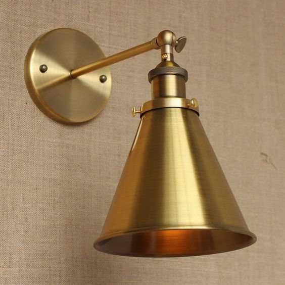Pictures In Gallery Find More Wall Lamps Information about LOFT lamp discount lighting antique gold metal wall lamp industrial style adjust wall lamp for workroom Bathroom