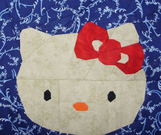 Hello Kitty by liljabs, a free paper pieced pattern from liljabs.com and fandominstitches.com