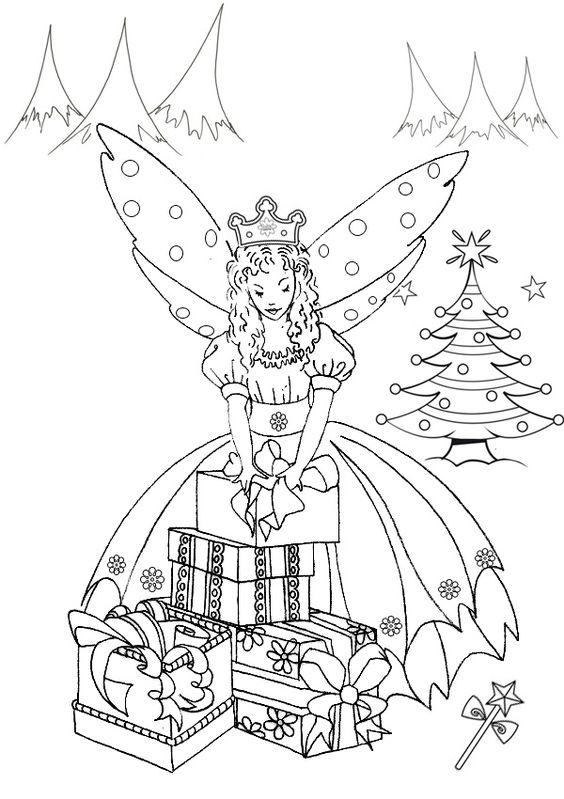 Free online printable kids colouring pages the christmas for Christmas fairy coloring pages