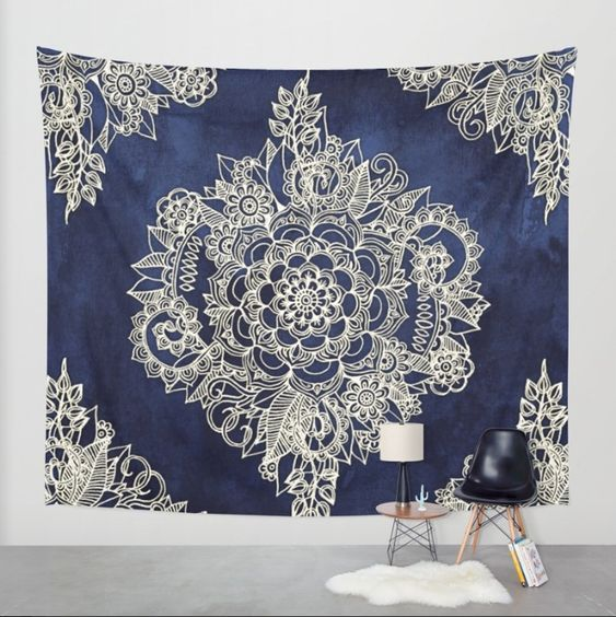 Cream Floral Moroccan Pattern on Deep Indigo Ink #tapestry by Micklyn