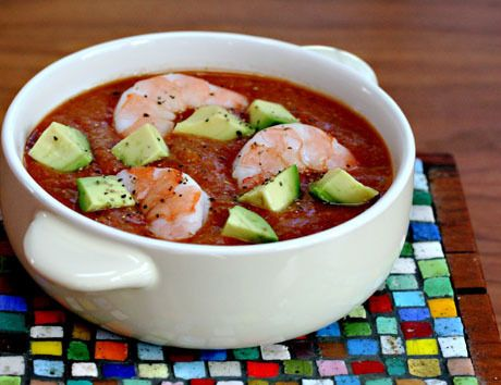 recipe: mango gazpacho with shrimp and avocado.