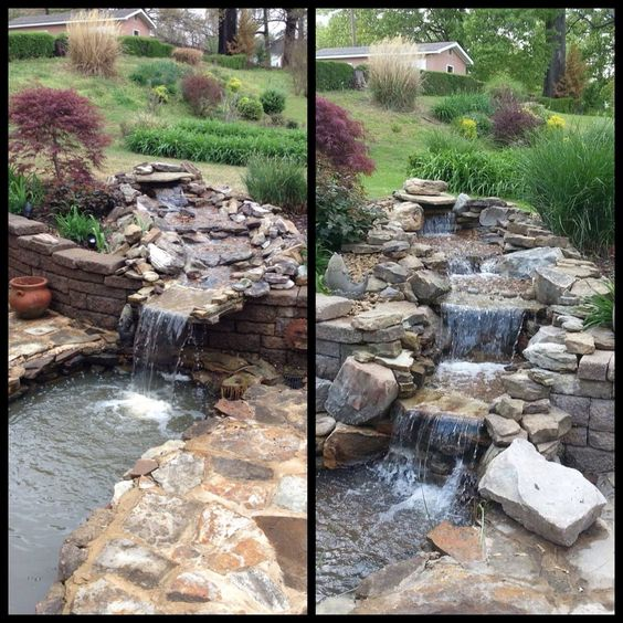Water Garden that has been reworked. Before & after.