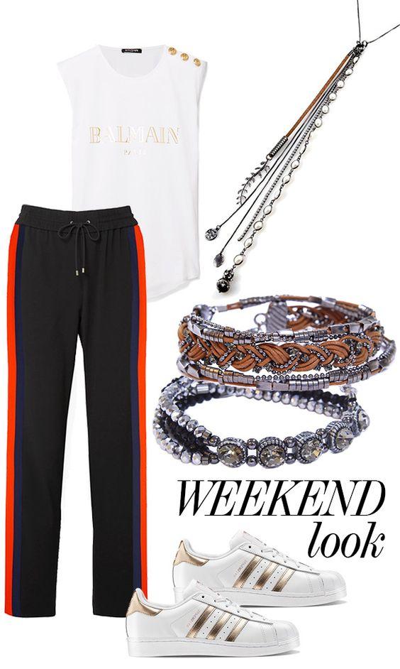 Look casual fim de semana com regata, calça esportiva trackpants, tênis branco, colar longo grafite Grace Almeida e pulseiras com couro e metais grafite Grace Almeida