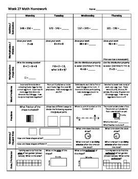 math worksheet : 3rd grade math weekly homework weeks 27 35  weekly homework sheet  : 6th Grade Math Problems Worksheet