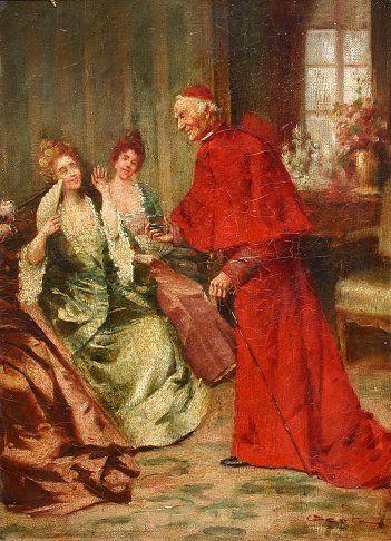 19TH C CATHOLIC CARDINAL GENRE PAINTING | Beauty ...