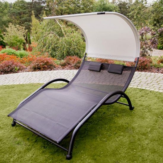 China Portable Double Chaise Lounge Hammock Bed With Sun Shade Pillow For Patio Garden Yard In 2020 Double Chaise Lounge Double Chaise Patio Rocking Chairs