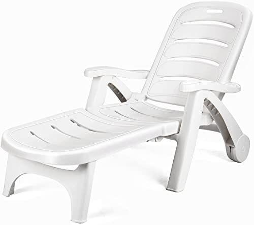 New Giantex Folding Lounger Chaise Chair Wheels Outdoor Patio Deck