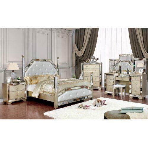 Kahler Upholstered Four Poster Bed In 2020 Furniture Bedroom Sets Furniture Of America