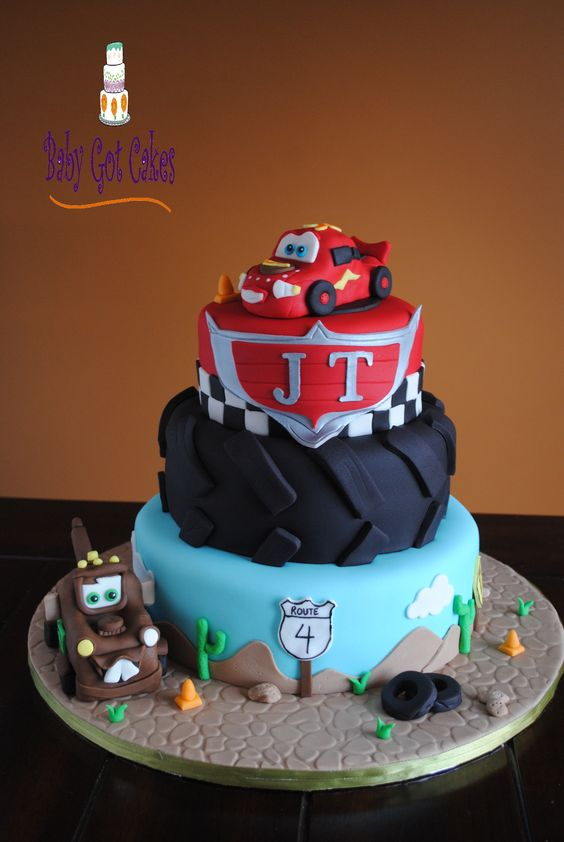 Cars Three Tier - This is a 3 tier covered in fondant.  Lightning McQueen & Tow Mater are sculpted from rkt and covered in fondant.  Thanks for looking!