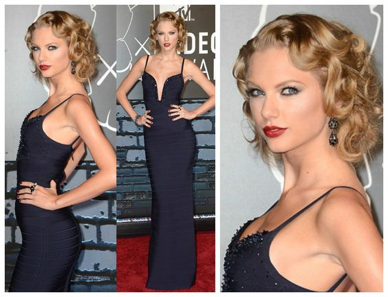 T Swift Embellished in evening gown by Herve Leger Looking fab