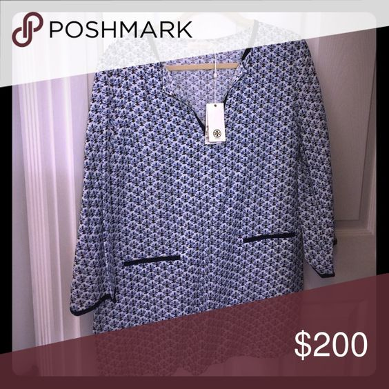 Tory burch Tunic Navy, blue and oxblood pattern with embroidered accents Tory Burch Tops Tunics