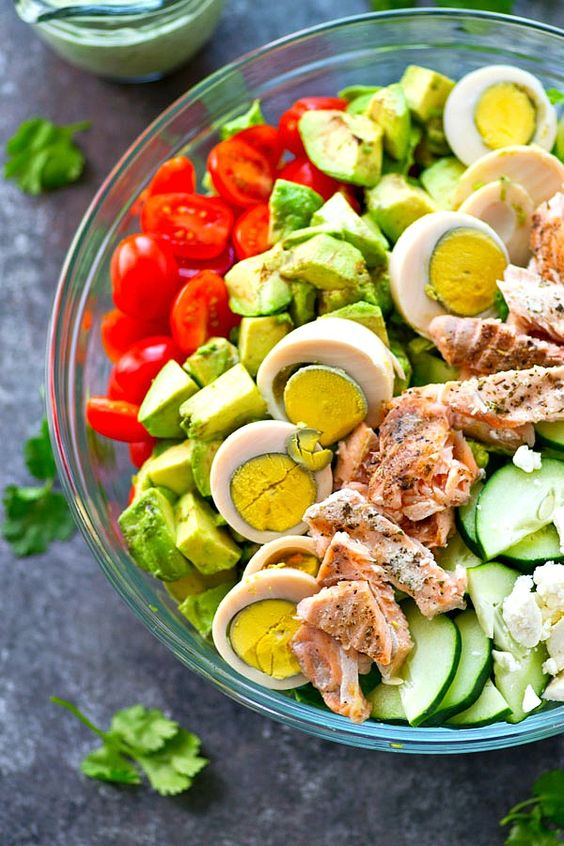 Cheap Keto Meal Salmon Cobb Salad