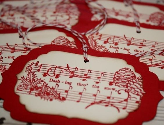 Red Christmas song tag by ShabbyPeaDesigns @ Etsy.