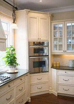 A Built-In Oven In The Corner Of A Kitchen, great use of space.