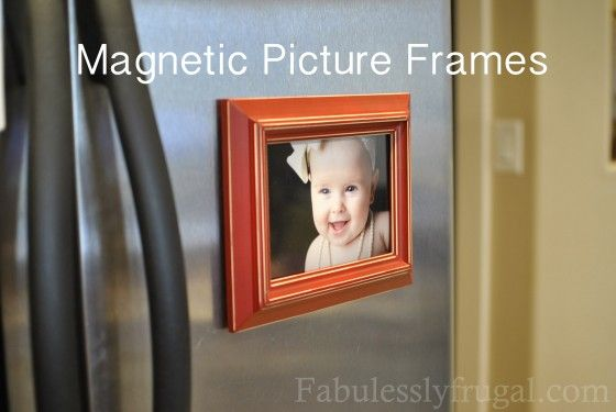 Brilliant idea. Magnetic picture frames. http://fabulesslyfrugal.com/2012/04/magnetic-picture-frames.html