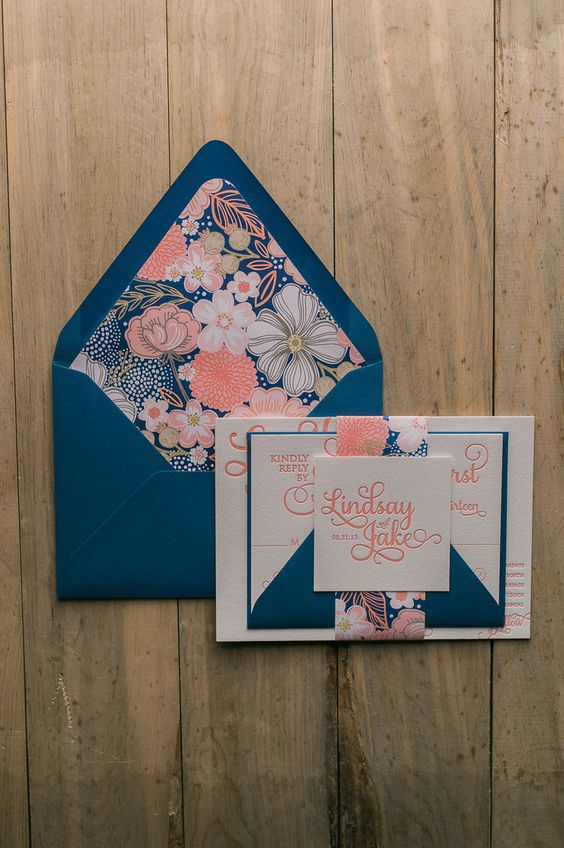 Fabulous Coral and Navy Floral Patterned Calligraphy Letterpress Wedding Invitations by Just Invite Me:
