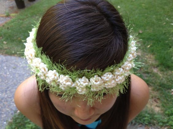 Hawaiian Floral Pikake Haku Lei Garland Headband Floral ...