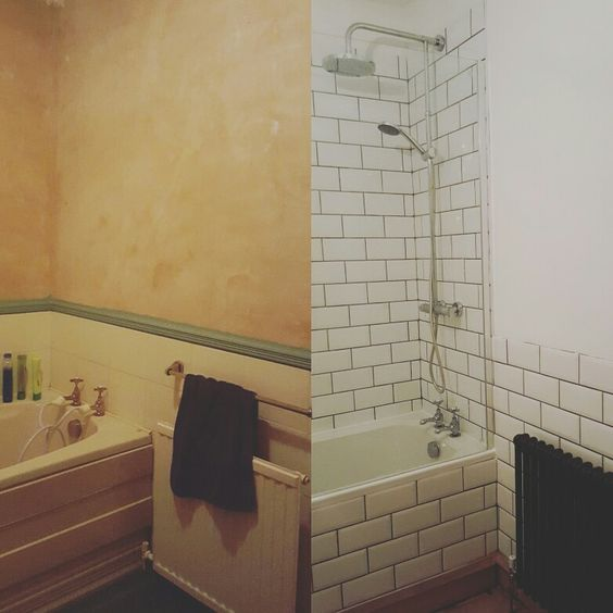 Before and after - almost finished - bathroom remodel with grey grout and white subway tiles.