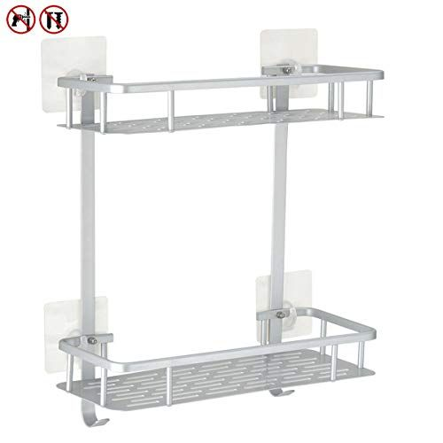 Check Out This Yeegout No Drill Bathroom Shelves Aluminum Rustproof Adhesive Shower Shelf Kitchen Pr With Images Shower Shelves Shower Storage Bathroom Basket Storage