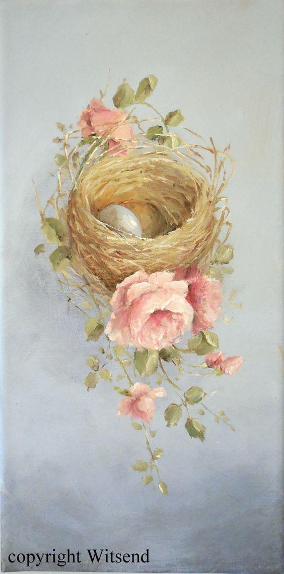 Rose Bird Nest painting original still life art Pink by 4WitsEnd: