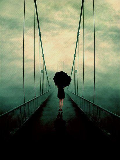 bridge through fog