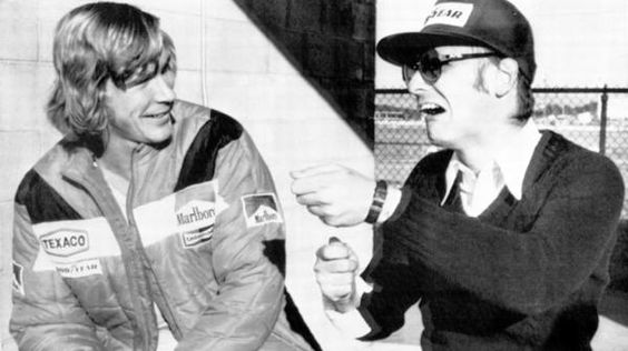 James Hunt and Niki Lauda joking