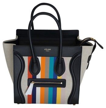 tie bags purses - Celine Micro Luggage In Textile (2015) Multi Colors Tote Bag ...