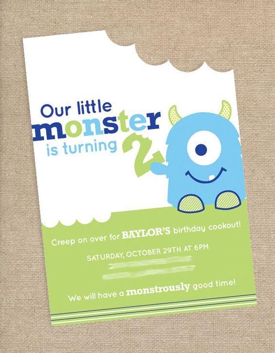 Monster Birthday Party Invitation. $15.00, via Etsy.