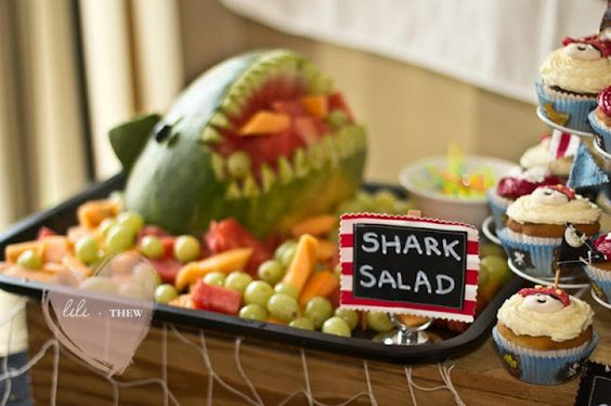 TROY's Party Inspiration- Pirate Themed Food= Shark Salad