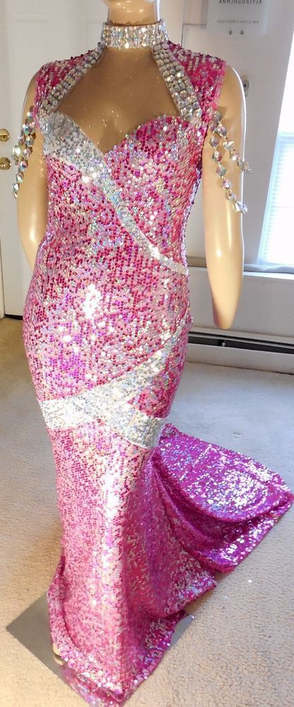 DRAG QUEEN MORGAN WELLS HOT PINK AND SILVER GOWN SIZE 16-20! #MORGANWELLSDESIGNS #StretchBodycon #Formal