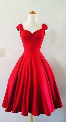 Vintage-1950s-Tea-Length-Short-Red-Party-Prom-Dresses-Cocktail-Bridesmaid-Dress