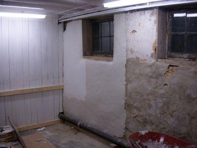Solution for crumbling parging on 85yo basement walls: Quikwall surface bonding cement | 4219osage.com