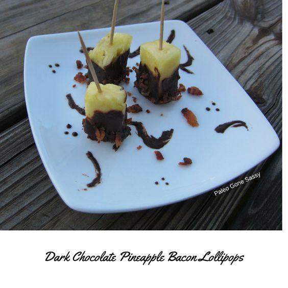 Chocolate Pineapple Bacon Lollipops