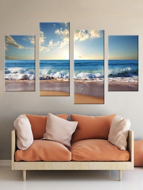 Beach Wave Print Unframed Split Canvas Paintings Cheap Canvas Wall Art Canvas Wall Art Canvas Wall Art Set