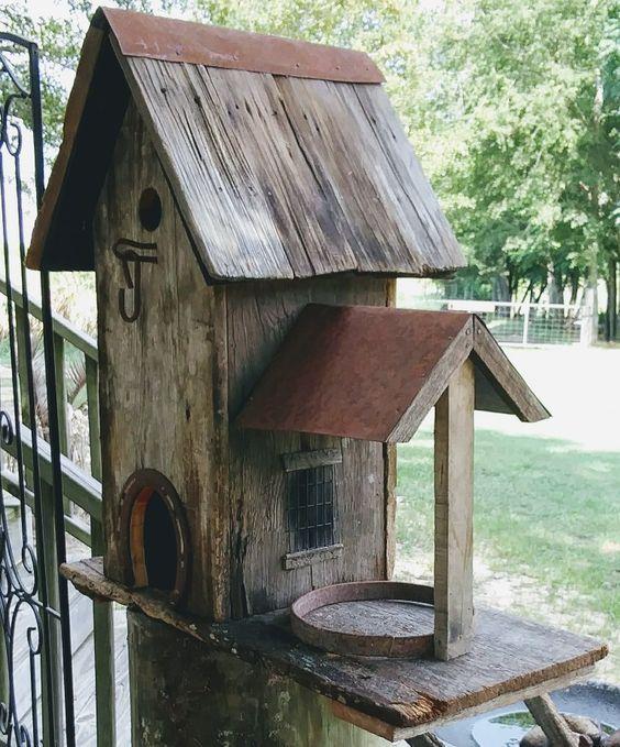 Rustic Birdhouse Feeder Bird Houses Homemade Bird Houses