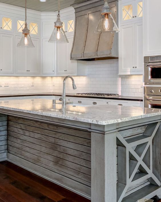 Islands woods and hoods on pinterest for Blue washed kitchen cabinets