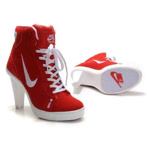 Women's Nike Heel Sneakers- White & Red High Top Round Toe Nike ...