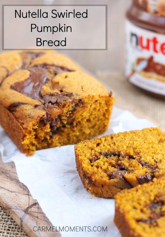 Nutella gewirbelte Kürbis-Brot