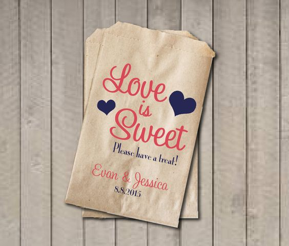 Wedding Favor Bags Coral : Wedding Favor Bags, Love is Sweet Favor Bags, Personalized Wedding ...