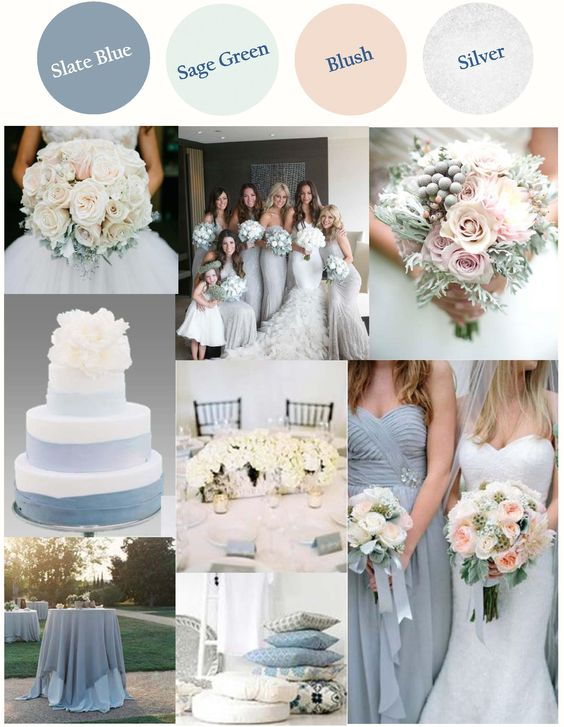 Slate Blue (or Dusty Blue) with Light Sage Green Blush and Silver with a warm…