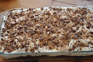 I made this Heath Bar Cake and brought it to work. It was gone so fast and received rave reviews from my co-workers. This one is a keeper!
