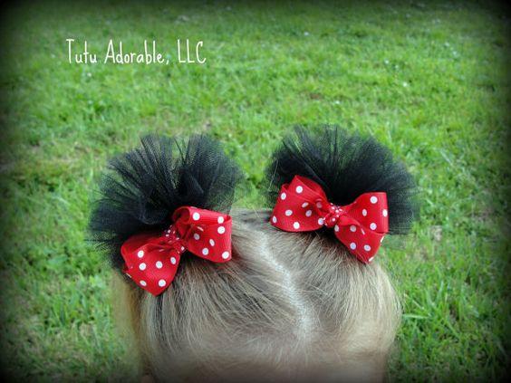 Tulle Mouse Ear Hair Clips