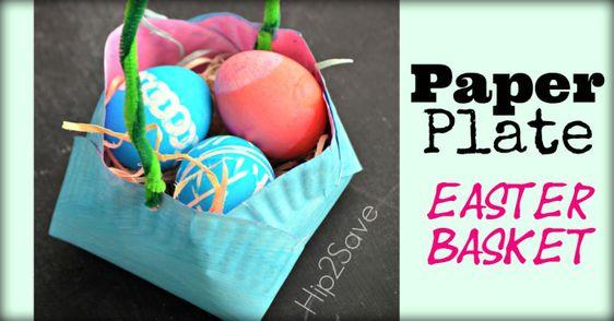 Paper Plate Easter Basket Hip2Save