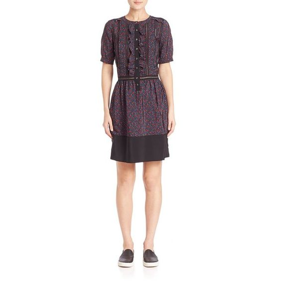 COACH 1941 Floral Ruffled Silk Dress ($625) ❤ liked on Polyvore featuring dresses, apparel & accessories, frilly dresses, floral cut out dress, floral cutout dress, silk floral dress and ruffled dresses
