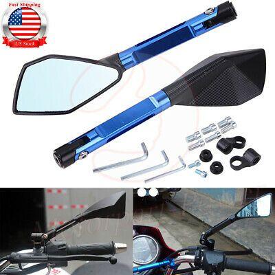 ViZe 7//8 22mm Side bar Mirrors Bar End Mirrors Universal Rear View Mirrors for Yamaha Honda Triumph Ducati Motif Black