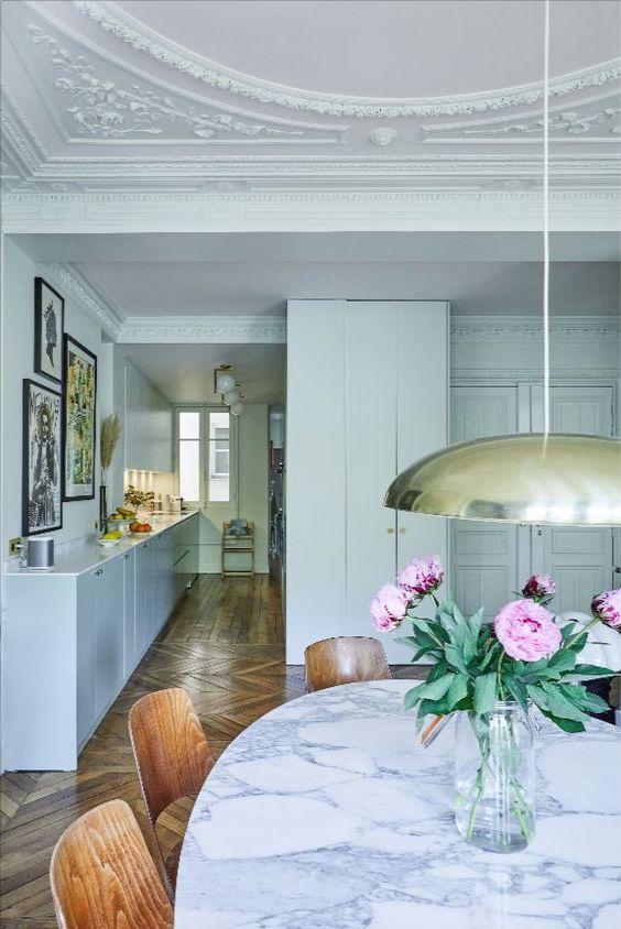 This Beautiful Parisian Interior Features Farrow &Amp; Ball Pavillion Blue Paint.   Interior Architects : Les Filles D'Intérieur Photographer : David Japy