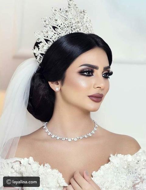 تيجان عرايس 2017 لطلة فخمة كالملكات ليالينا Wedding Hairstyles With Crown Bridal Makeup Looks Wedding Hairstyles Bride