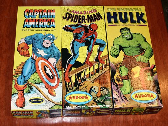 Vintage Aurora Super Hero Model Kits: