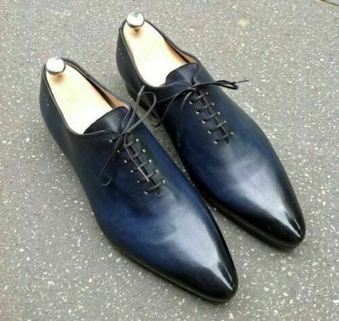 Men New Style Shiny Blue Color Burnished Derby Toe Handmade Leather Laceup Shoes